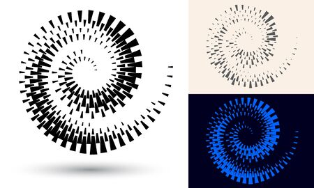 Halftone spiral as icon or background. Black abstract vector as frame with quadrangles for logo or emblem. Circle border isolated on the white background for your design.