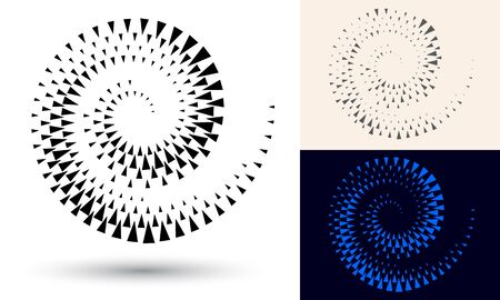 Halftone spiral as icon or background. Black abstract vector as frame with triangles for logo or emblem. Circle border isolated on the white background for your design. 向量圖像