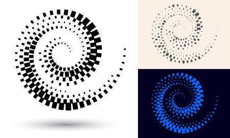 Halftone spiral as icon or background. Black abstract vector as frame with quadrangles for logo or emblem. Twirl  border isolated on the white background for your design.