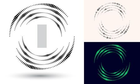 Halftone quadrangles in circle form. Round logo or icon. Vector frame as design element. In center is the repeated element. Illustration