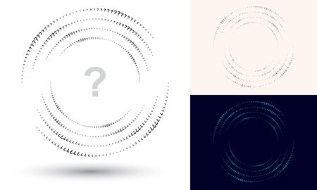 Halftone question mark in circle form. Round logo or icon. Vector frame as design element. In center is the repeated element.
