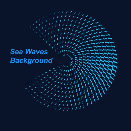 Halftone round as icon or background. Blue abstract vector circle frame with waves as logo or emblem. Circle form  border on dark background for your design.