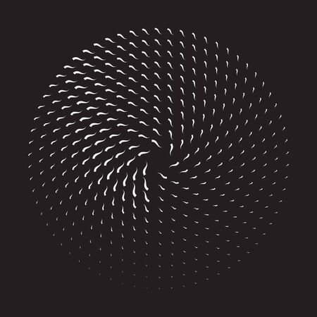 Halftone round as icon or background. Abstract vector circle frame with waves as logo or emblem. Circle form  border on dark background for your design.