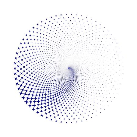 Halftone round as icon or background. Blue abstract vector circle frame with dots as logo or emblem. Circle form  border background for your design.