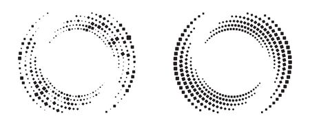 Modern abstract background. Halftone squares in circle form. Round logo. Vector dotted frame. Design element or icon.