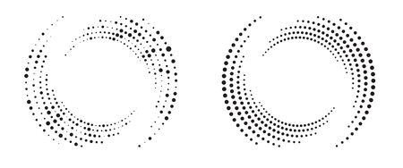 Modern abstract background. Halftone dots in circle form. Round logo. Vector dotted frame. Design element or icon. Stok Fotoğraf - 149404230