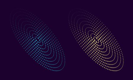 Modern abstract background. Halftone dots in circle form like galaxy. Round logo. Vector dotted frame. Design element or icon. Çizim
