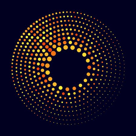 Modern orange abstract background. Halftone dots in circle form. Round logo. Vector dotted frame. Design element or icon. Stok Fotoğraf - 149404199