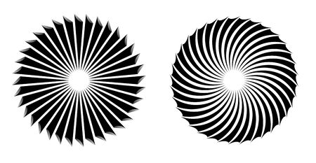 Abstract radial lines as propeller or fan. Sun icon illusion.