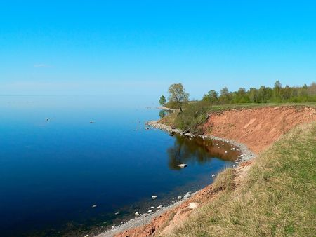 promontory: The promontory on the lake in summer. Stock Photo