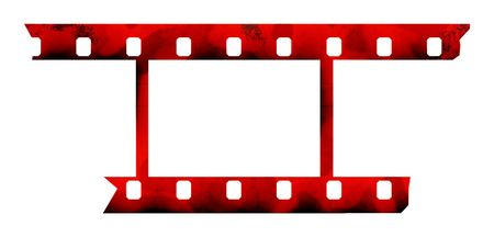 truncated: The photographic film with truncated edges on a white background. Stock Photo