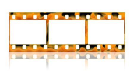 The photographic film with reflection on a white background. photo