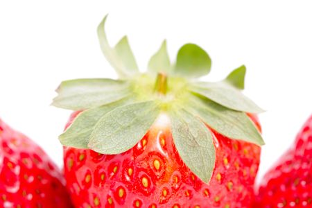 The strawberry on a white background close up. photo