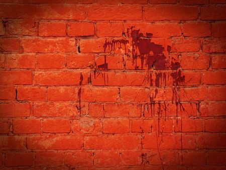 The fragment wall of brick dirty blood. Stock Photo - 7166734