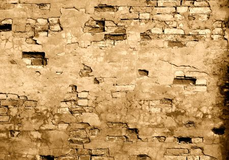 derelict: The fragment wall of brick close-up.