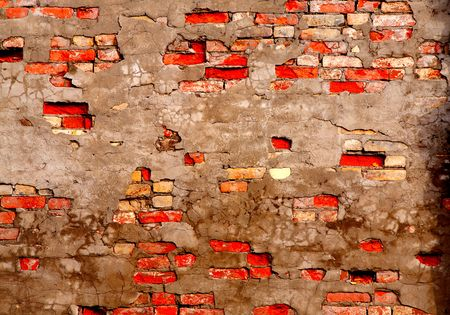 damaged cement: The fragment wall of brick close-up.