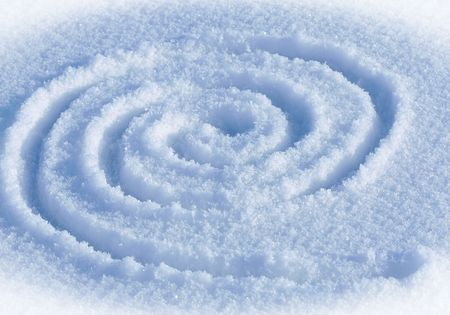 The spiral labyrinth on a snow.