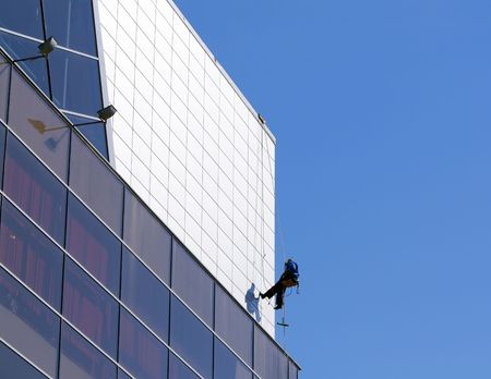 The window washer. Clear day.