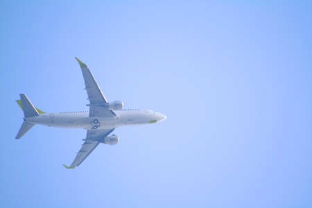 The airplane on a sky background. photo