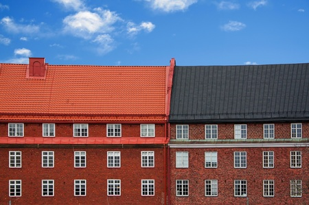 The facade of old buildings in Finland. photo