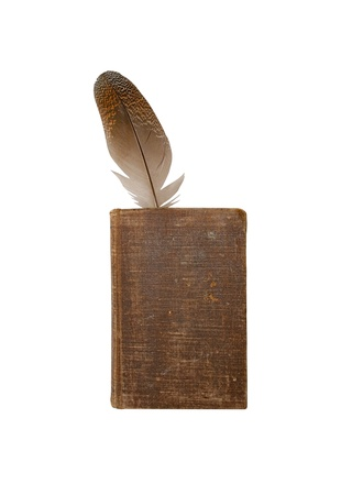 Old book and feather on a white background. Stock Photo - 8898973