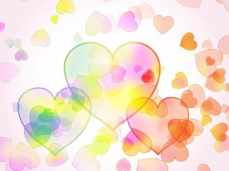 warm colors: El fondo abstracto de corazones. Foto de archivo