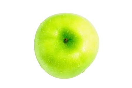 bovenaanzicht mens: Natte groene appel. Het bovenaanzicht.