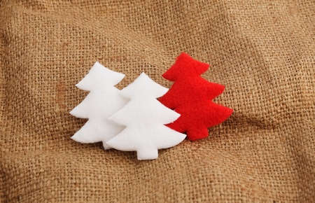 bagging: The toylike christmas trees on a bagging. Stock Photo