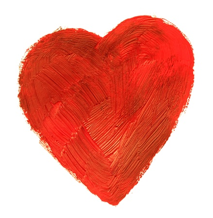 heart drawing: The abstract heart. This drawing painted of an oil paint. Stock Photo