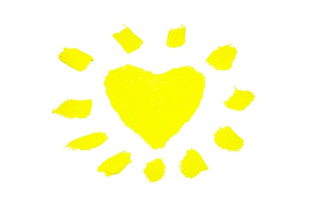 The abstract sun in the form of heart. This drawing painted of an oil paint. Stock Photo - 12056081