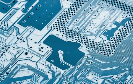 Electronic circuit board close up. X-ray effect. Stock Photo