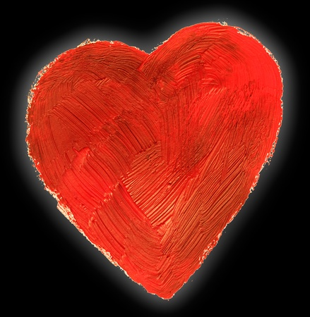 The abstract heart. This drawing painted of an oil paint. On black. Stock Photo - 12056118