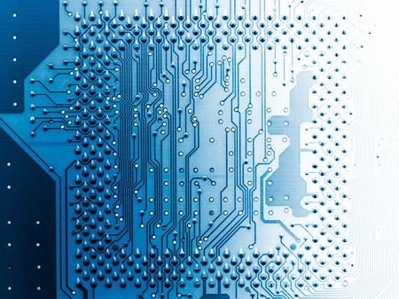 telecommunications equipment: Electronic circuit board close up. Light and shadow. X-ray effect. Stock Photo