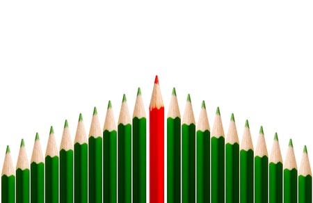 many green pencils and one red - concept of success team photo