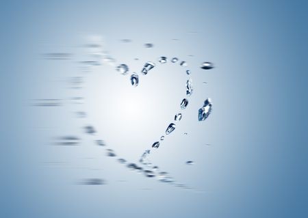 blurred water bubbles in the shape of heart photo