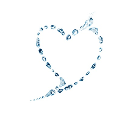 water bubbles in the shape of heart on white background Stock Photo - 12555157