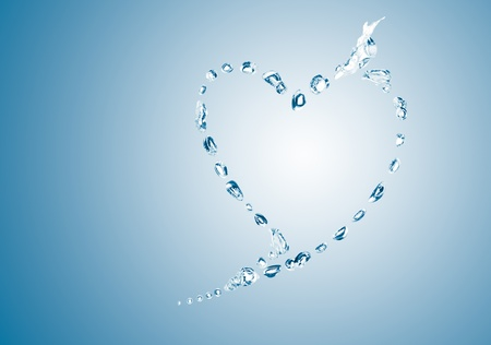 water bubbles in the shape of heart on blue background photo