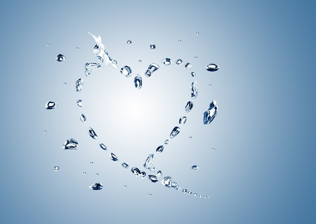 water bubbles in the shape of heart on white background photo