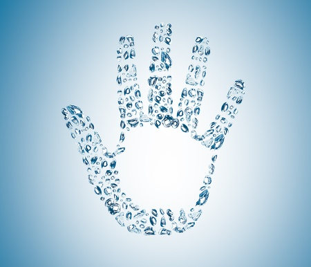 abstract open palm from water bubbles Stock Photo - 12555121