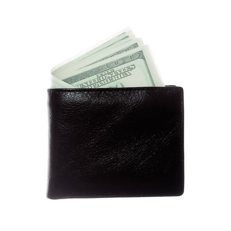 black wallet with US dollars photo