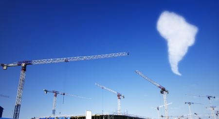 clear day: construction site in a clear day witn cloud in the shape of South America