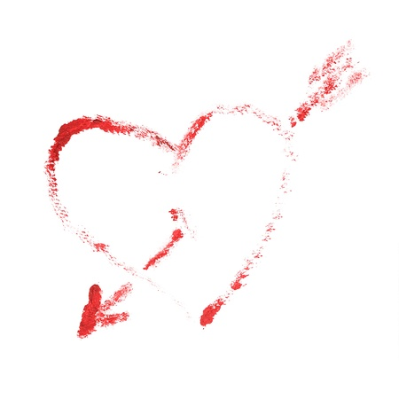 The heart pierced arrow. This drawing painted of an oil paint. Stock Photo - 16681478
