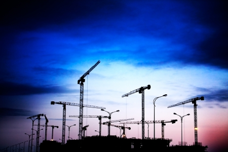 new site: construction site on a sunset