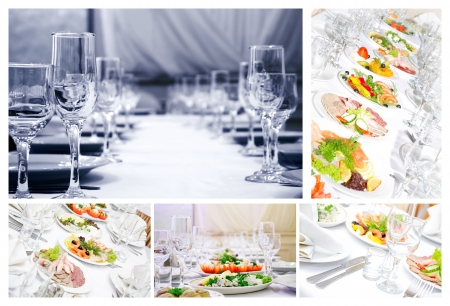 The collage of food photos. Stock Photo