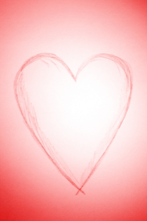 heart shape drawing of red pencil on a whatman paper Stock Photo - 16701069