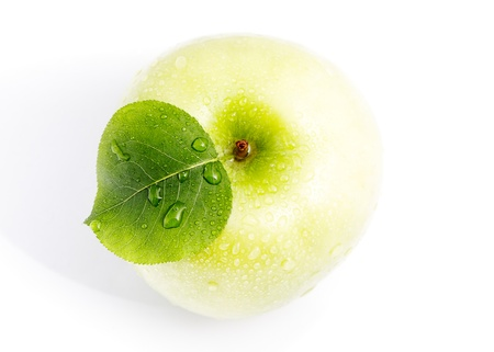 granny smith apple: Wet green apple. The top view. Stock Photo