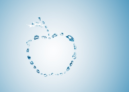 water bubbles in the shape of apple on blue background photo