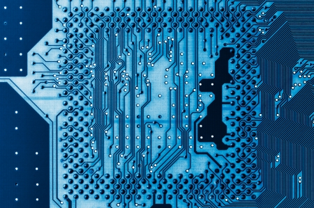 Electronic circuit board close up. X-ray effect. photo