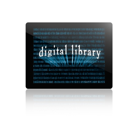 tablet pc, tablet computer or digital book with abstract words and named  photo