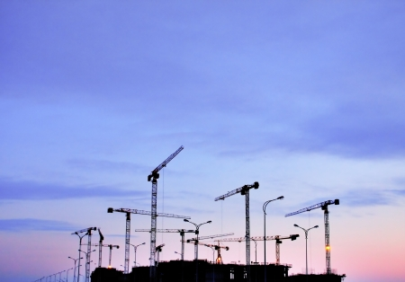 construction site on a sunset photo